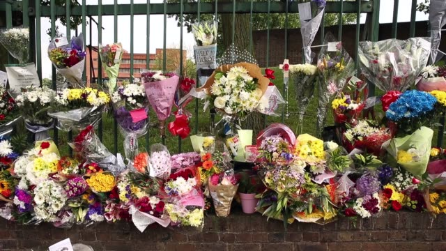 close up of flowers near the scene where drummer lee rigby of the 2nd battalion the royal regiment of fusiliers was killed, on may 24, 2013 in... - fundamentalism stock videos & royalty-free footage