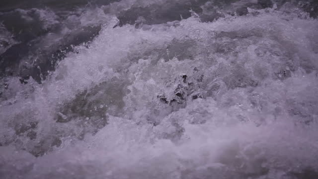 Close up of flowing water/water rapids in the river Lech.
