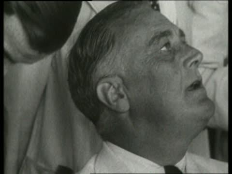 B/W close up of Franklin Roosevelt talking / NO
