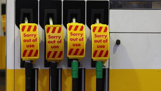 close up of fuel pumps at closed gas station, due to shorage of gasoline, in guildford, surrey, england, u.k., on monday, september 27, 2021.... - western script stock videos & royalty-free footage