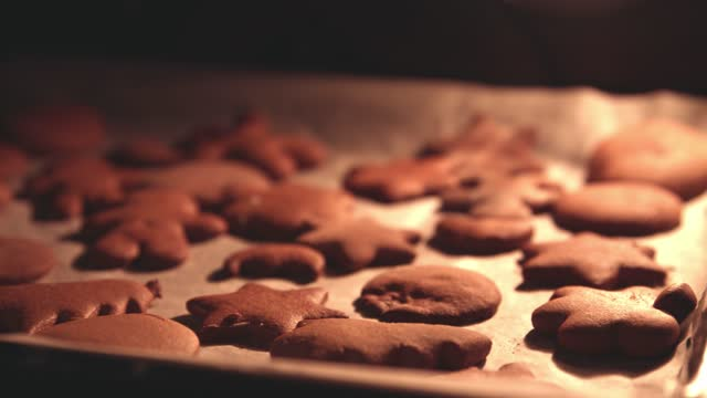 close up of gingerbread cookies on a baking tray in the oven - baking tray stock videos & royalty-free footage