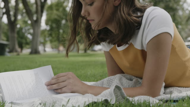 close up of girl laying in park reading book then smiling at camera / provo, utah, united states - provo stock videos & royalty-free footage