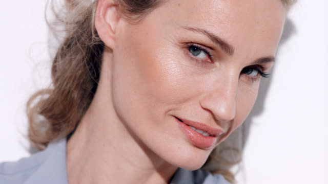 close up of glamorous mature woman. - blouse stock videos & royalty-free footage