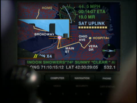 close up of GPS display in car