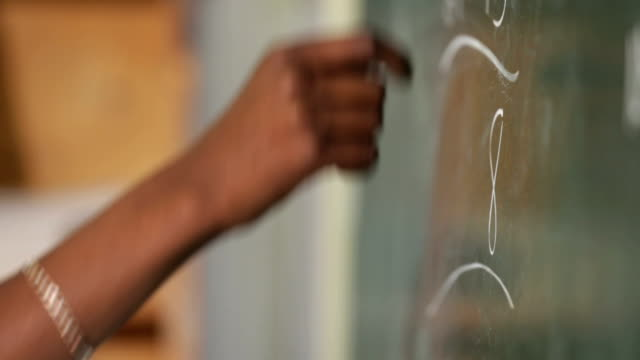 Close up of hands writing on cahlk board