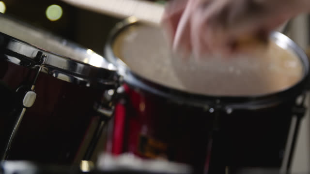 close up of high and mid tom drums being hit on a drum kit - drummer stock videos & royalty-free footage