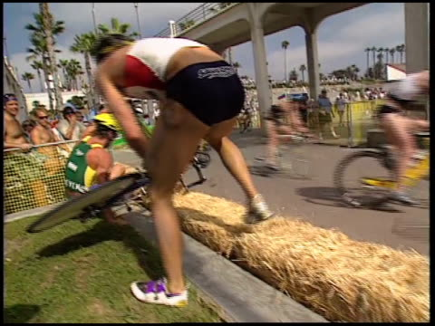 close up of high speed bike crash involving multiple participants of a triathlon on july 05 2008 in oceanside california - oceanside stock videos and b-roll footage