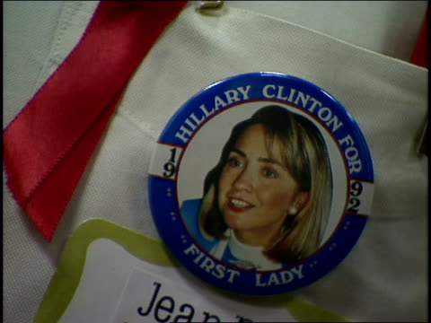 close up of 'hillary for first lady' pin - first lady stock-videos und b-roll-filmmaterial