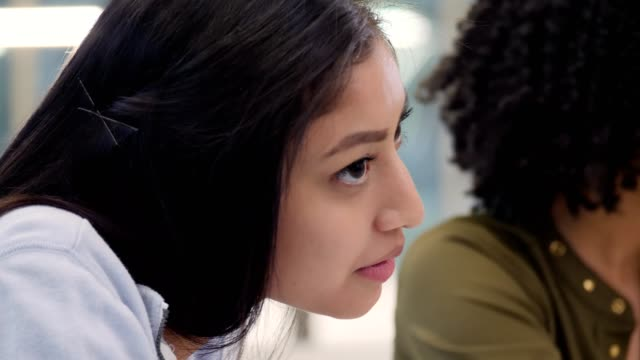 close up of hispanic college student in study group - adult stock videos & royalty-free footage