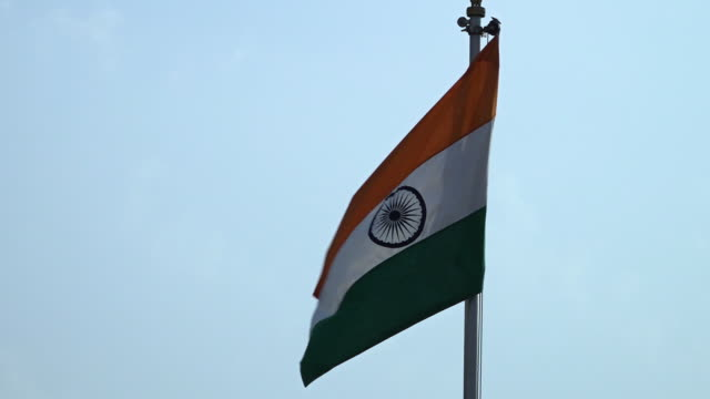 close up of indian flag flapping in wind - indian flag stock videos & royalty-free footage