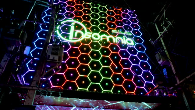 4k close up of insomnia neon sign on walking street pattaya thailand. insomnia is probably the biggest famous club and bar for tourists and locals to mix on walking street. - human sexual behaviour stock videos & royalty-free footage