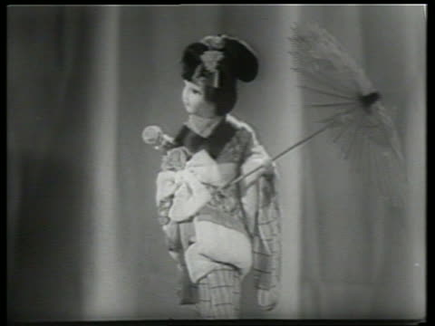 b/w close up of japanese doll with parasol / sound - parasol stock videos & royalty-free footage