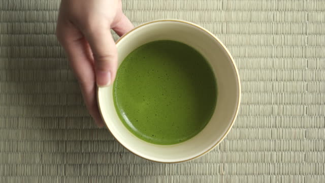 close up of japanese green tea (matcha) - japanese culture stock videos & royalty-free footage