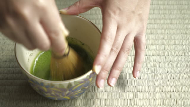 close up of japanese green tea (matcha) - ceremony stock videos & royalty-free footage