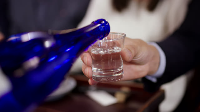 close up of japanese sake being poured - happy hour video stock e b–roll