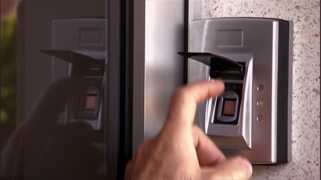 close up of keyless fingerprint entry - fingerprint stock videos & royalty-free footage