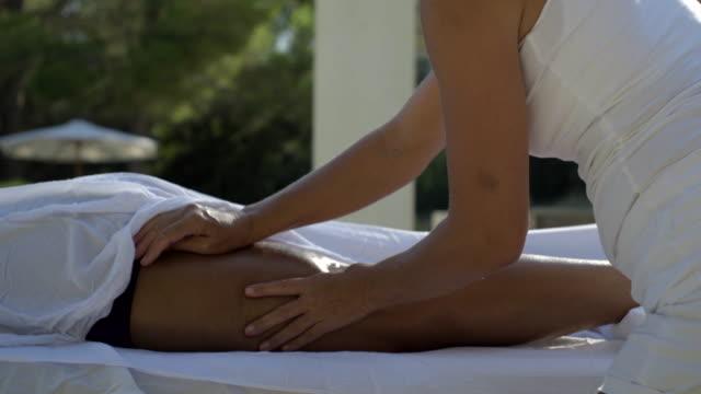 close up of leg massage - masseur stock videos & royalty-free footage