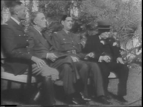 close up of lord louis mountbatten / medium shot of general george marshall and sir alan brooke / close up of brooke / close up of marshall /... - charles de gaulle stock videos & royalty-free footage
