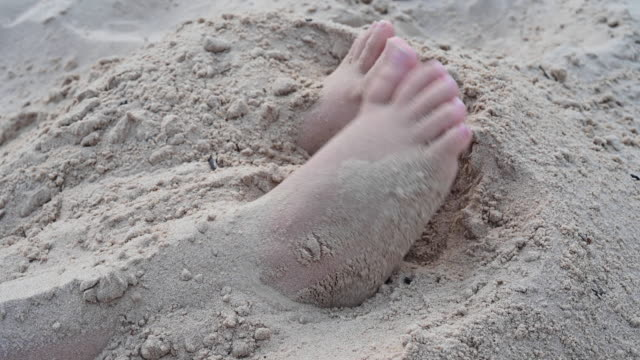 close up of man foot on a lake beach. germany - toe stock videos & royalty-free footage