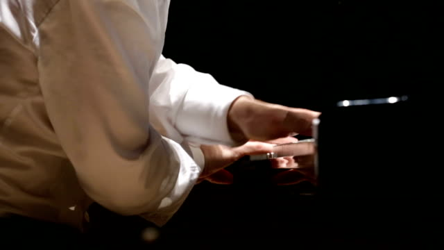 close up of man hands classic piano playing - piano stock videos and b-roll footage