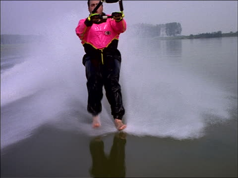 close up of man waterskiing barefoot