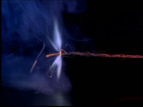 close up of match lighting fuse on stick of dynamite / flame goes out