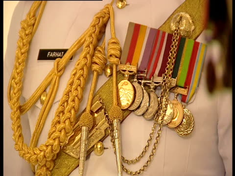 Close up of medals on a military officer's uniform