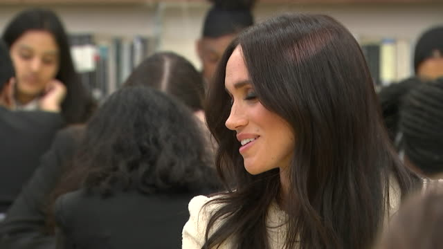 close up of meghan duchess of sussex at robert clack school of science in dagenham - multiracial group stock videos & royalty-free footage