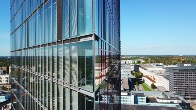 close up of modern glass and steel building - surrounding wall stock videos & royalty-free footage