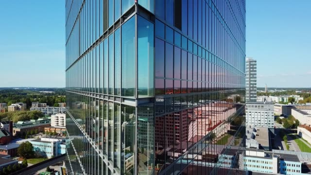 close up of modern glass and steel building - stockholm stock videos & royalty-free footage