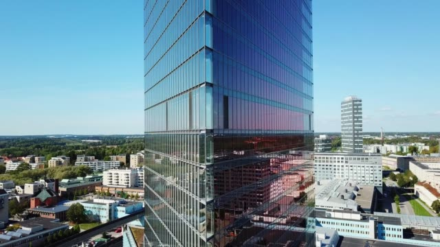 close up of modern glass and steel building - high up stock videos & royalty-free footage