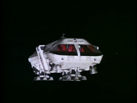 close up of moon bus flying toward camera with pilots sitting down in cockpit