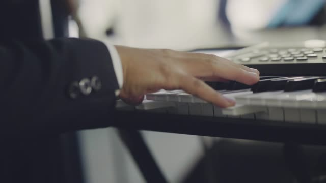 close up of musician hand playing paino - jazz video stock e b–roll