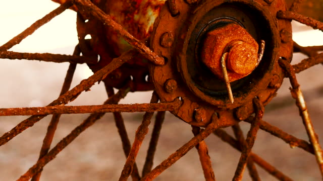 close up of old rusty motorcycle wheel - weathered stock videos & royalty-free footage