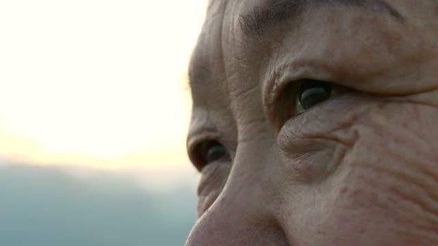 vidéos et rushes de fermez-vous vers le haut de l'oeil de femme plus âgé - cheveux gris