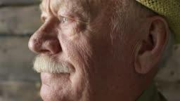 Close Up of Pensive Elderly Man