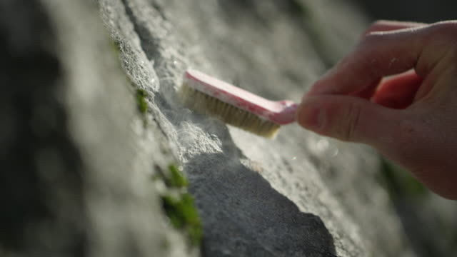stockvideo's en b-roll-footage met close up of person brushing rock with chalk prepping finger holds - boulder rock