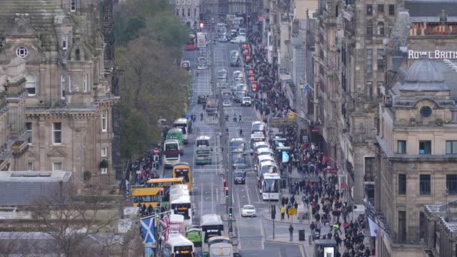 4K: Close up of Princes Street in Edinburgh, Scotland