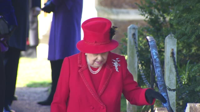 close up of queen elizabeth ii departing sandringham church after christmas day service - 2019 stock videos & royalty-free footage