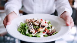 Close Up Of Restaurant Waitress Holding Plate Of Chicken With Salad