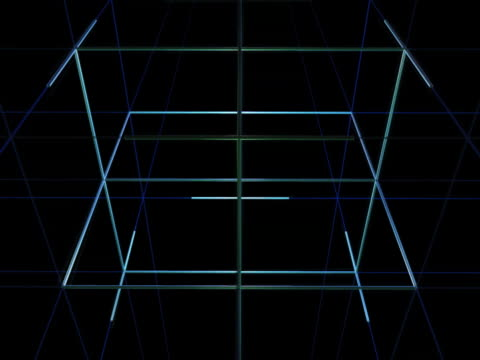 close up of revolving geometric grid and cube - 立方体点の映像素材/bロール
