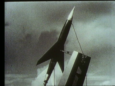 B/W close up of rocket plane on launch pad