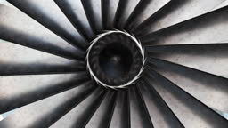 close up of rotation turbine in the bright light