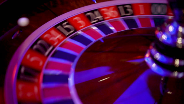 Close up of roulette wheel spinning