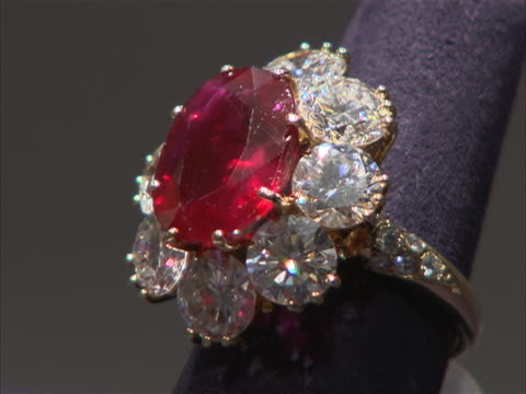 close up of ruby and diamond ring owned by actor and philanthropist elizabeth taylor. these jewels were part of a four-day charity auction of... - auction stock videos & royalty-free footage
