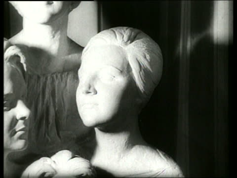 b/w close up of sculpture of four dutch princesses / 1960's / sound - medium group of objects stock videos & royalty-free footage
