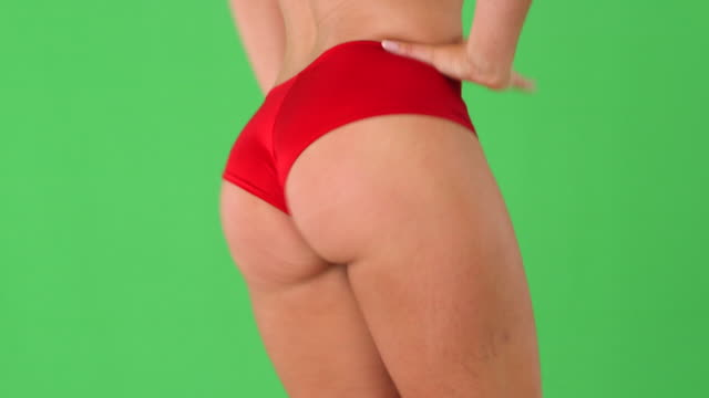 vídeos de stock, filmes e b-roll de close up of sexy woman's behind in red panties  - membro parte do corpo
