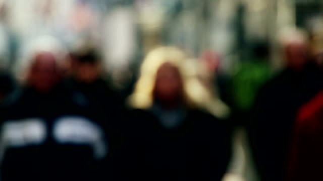 close up of shoppers in busy city street - pedestrian zone stock videos & royalty-free footage
