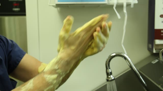 close up of shot surgeon's hands in front of sink washes his hands to prep for surgery on april 24 2014 in new york city - glove stock videos and b-roll footage