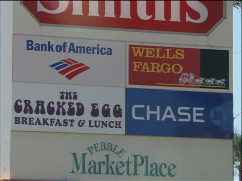close up of sign of banks in a shopping center the sign has logos for bank of america wells fargo and chase - bank of america stock videos & royalty-free footage